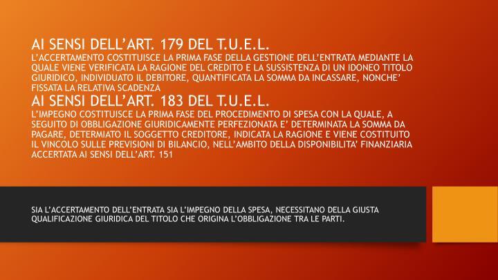 AI SENSI DELL'ART. 179 DEL T.U.E.L.