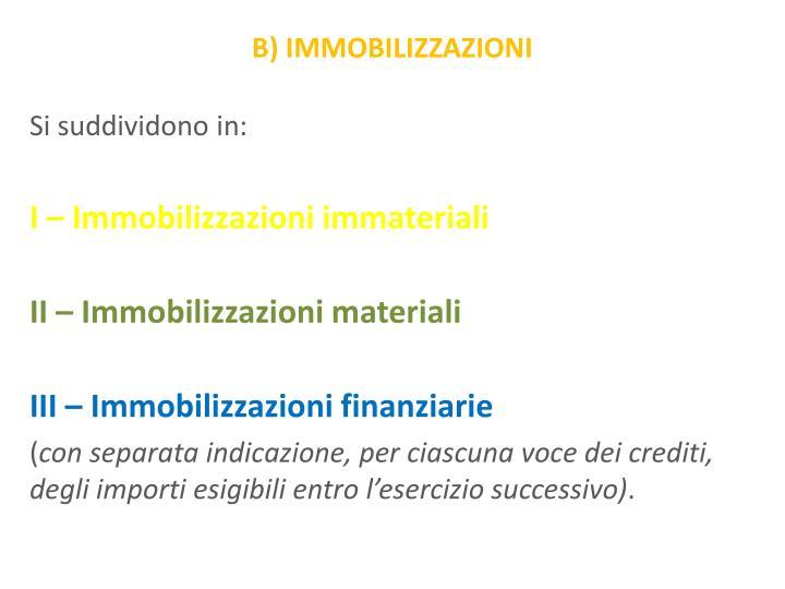 B) IMMOBILIZZAZIONI