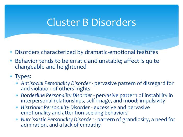 Cluster B Disorders