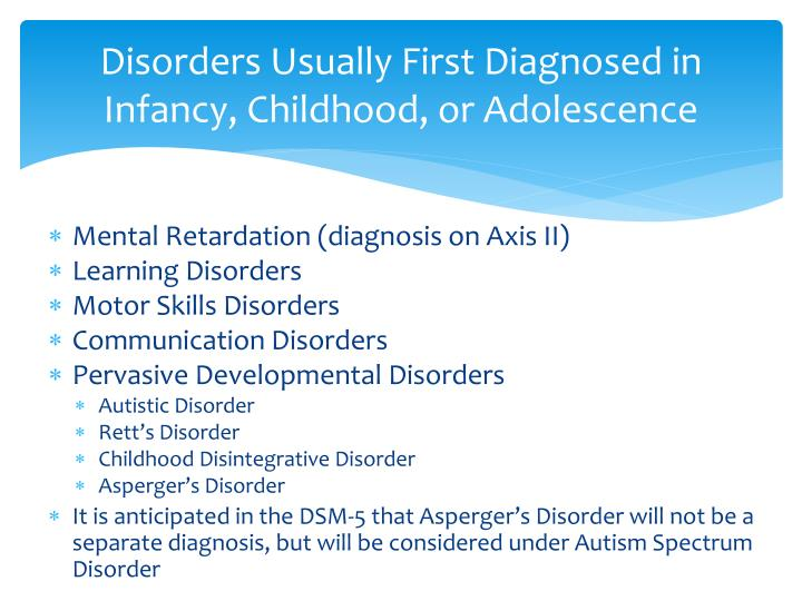 Disorders Usually First Diagnosed in Infancy, Childhood, or Adolescence