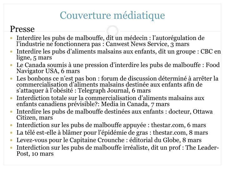Couverture médiatique