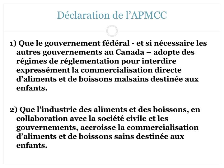 Déclaration de l'APMCC