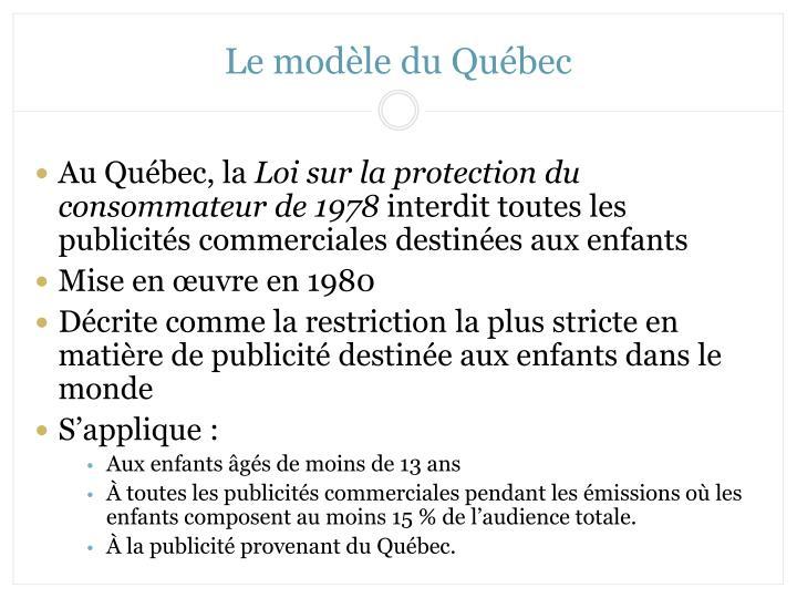 Le modèle du Québec