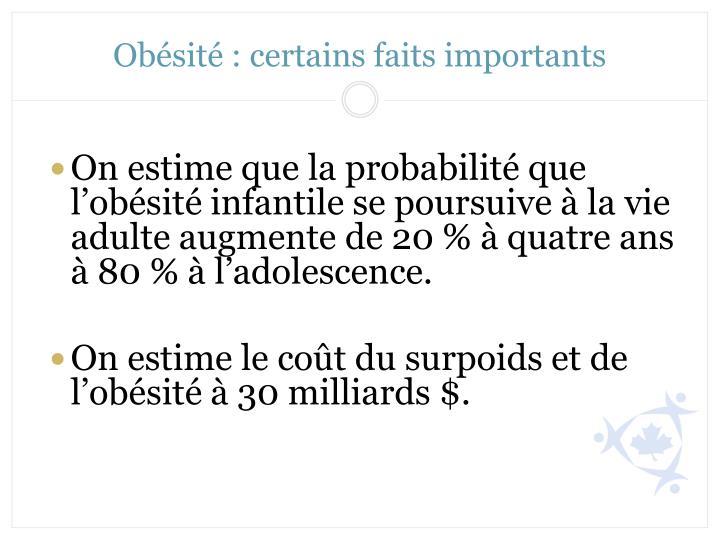 Obésité: certains faits importants