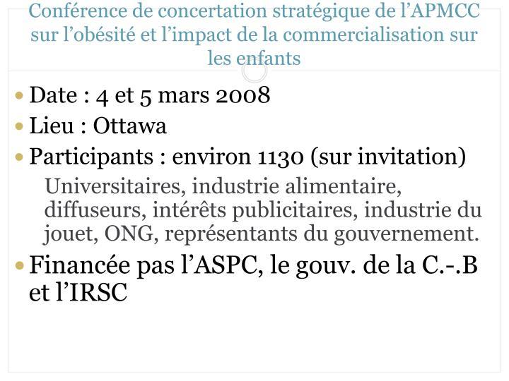 Conférence de concertation stratégique de l'APMCC sur l'obésité et l'impact de la commercialisation sur les enfants