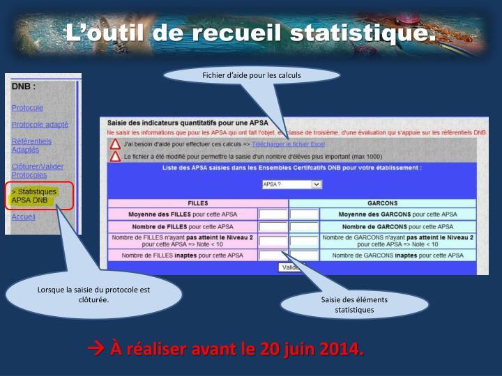 L'outil de recueil statistique.