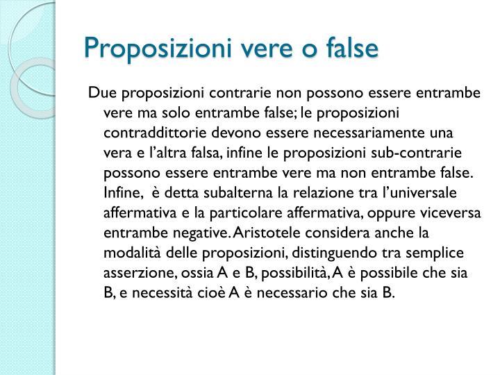 Proposizioni vere o false