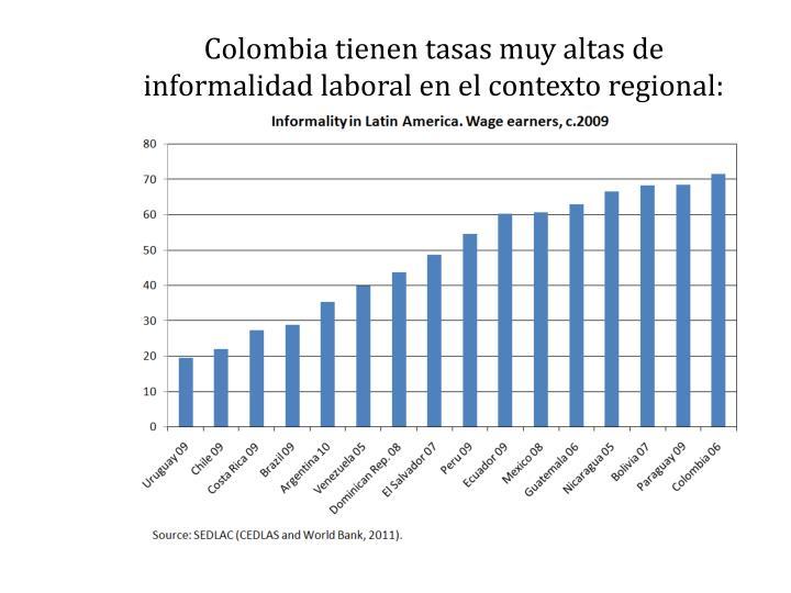 Colombia tienen tasas muy altas de informalidad laboral en el contexto regional: