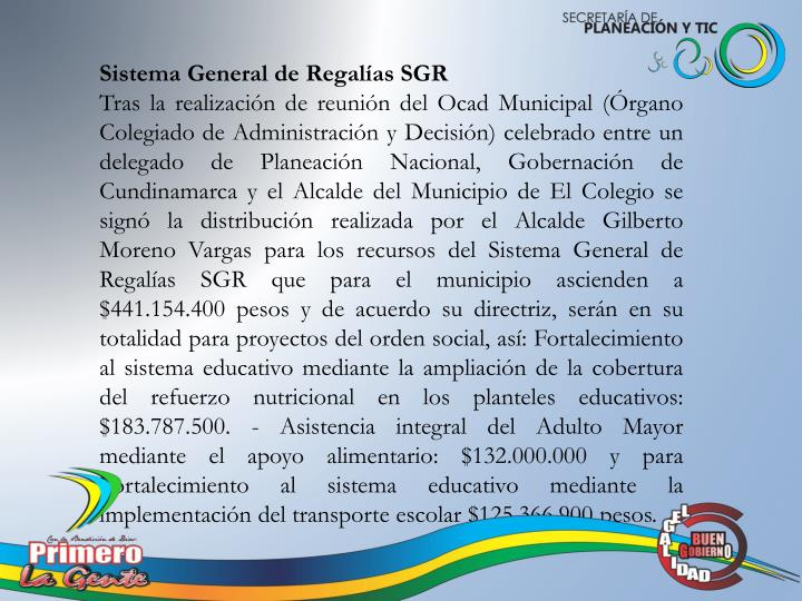 Sistema General de Regalías SGR