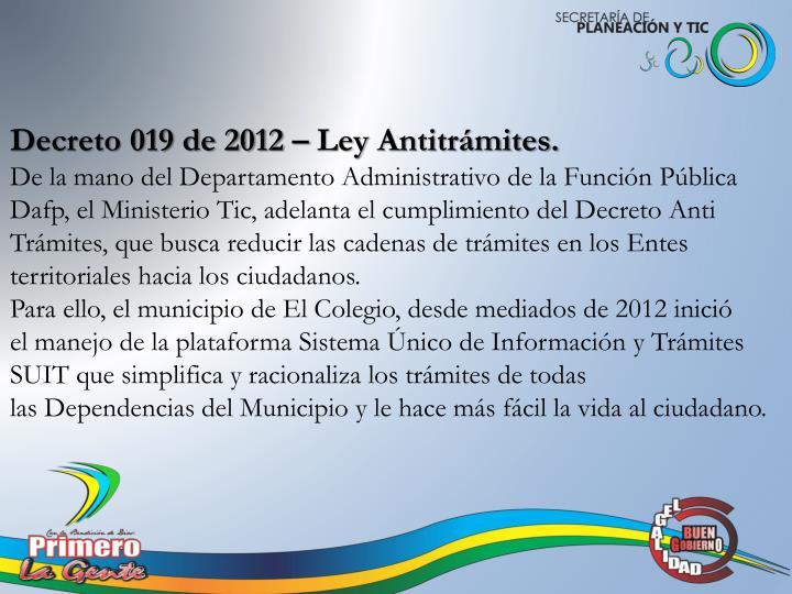 Decreto 019 de 2012 – Ley