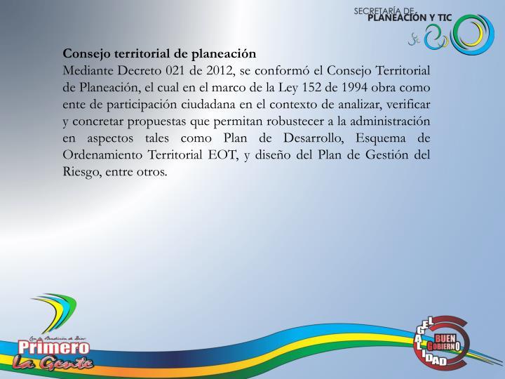 Consejo territorial de planeación