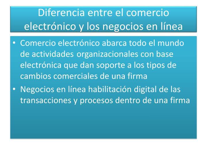 Diferencia entre el comercio electrónico y los negocios en línea
