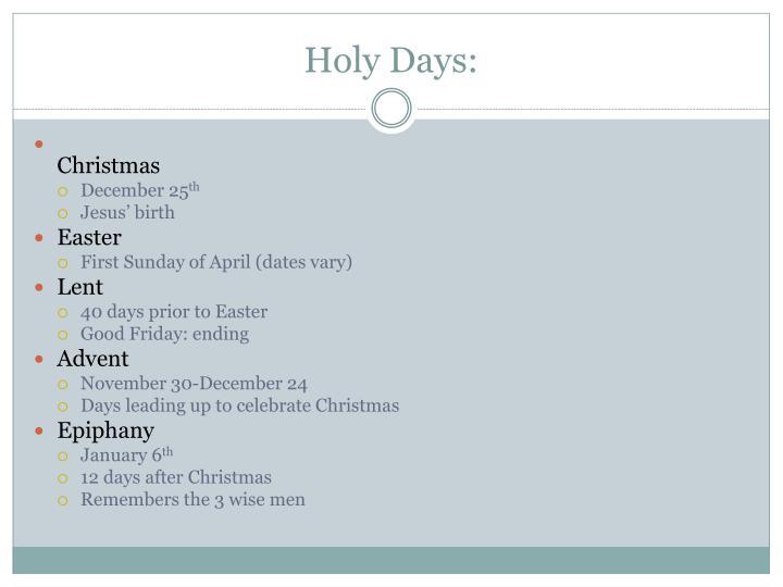 Holy Days:
