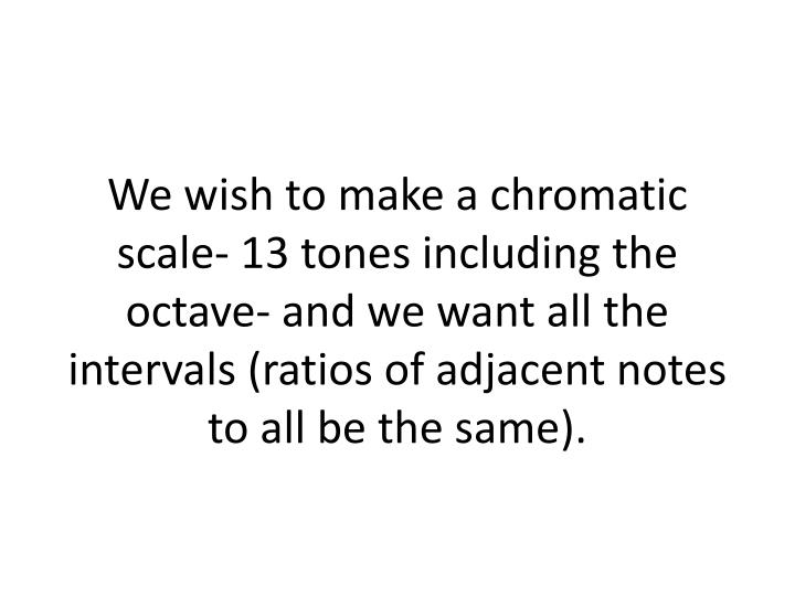 We wish to make a chromatic scale- 13 tones including the octave- and we want all the intervals (rat...