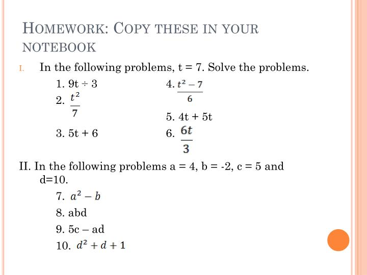 Homework: Copy these in your notebook