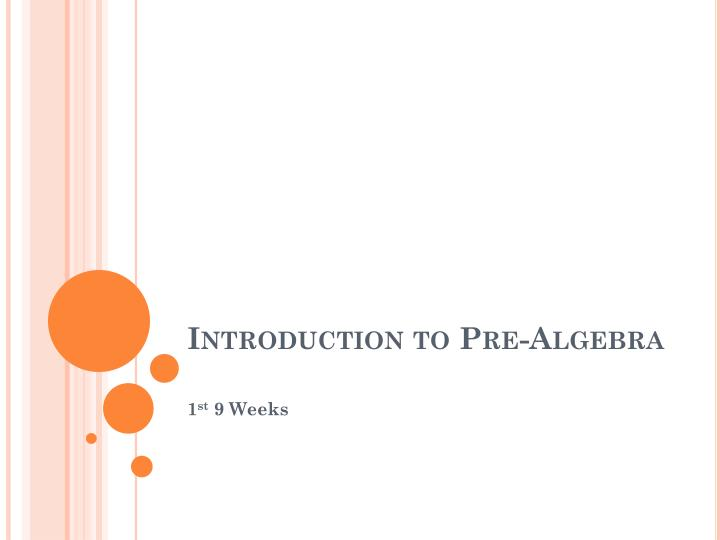 Introduction to pre algebra