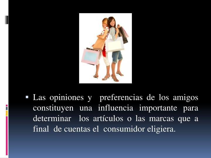 Las opiniones y  preferencias de los amigos constituyen una influencia importante para determinar  los artículos o las marcas que a final  de cuentas el  consumidor eligiera.