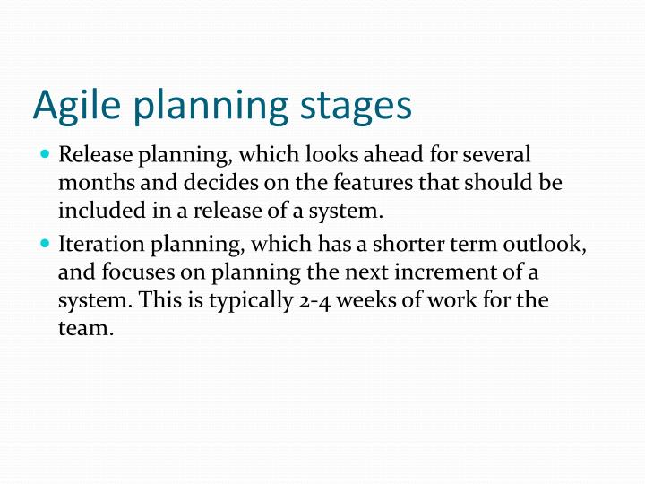 Agile planning stages