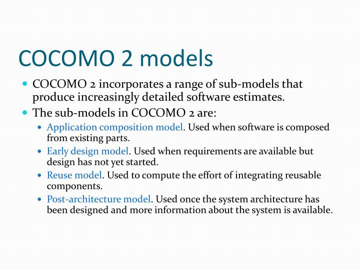 COCOMO 2 models