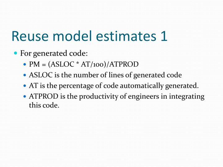Reuse model estimates 1