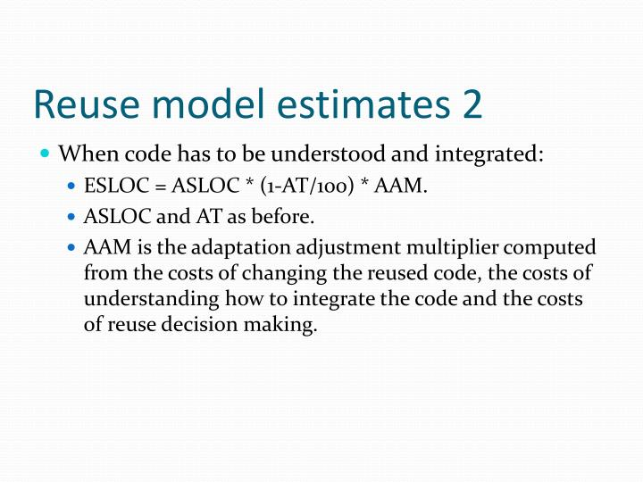 Reuse model estimates 2