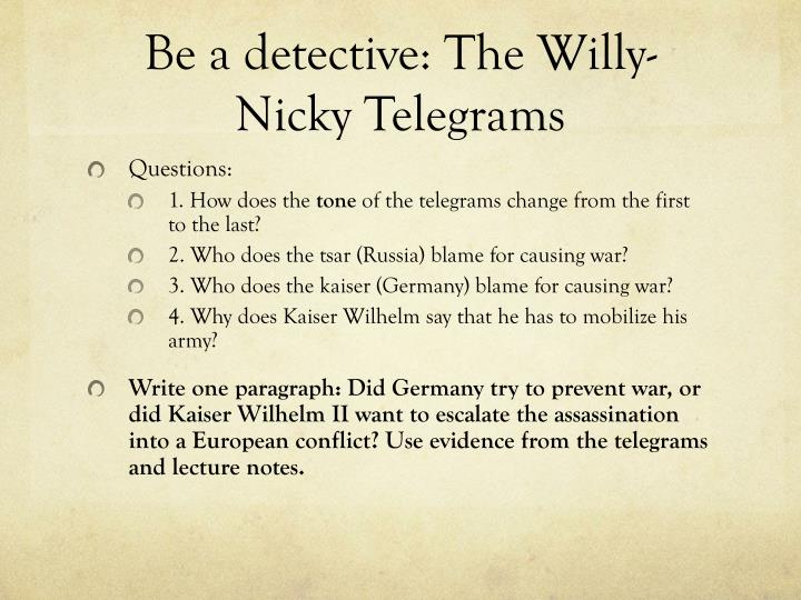 Be a detective: The Willy-Nicky Telegrams