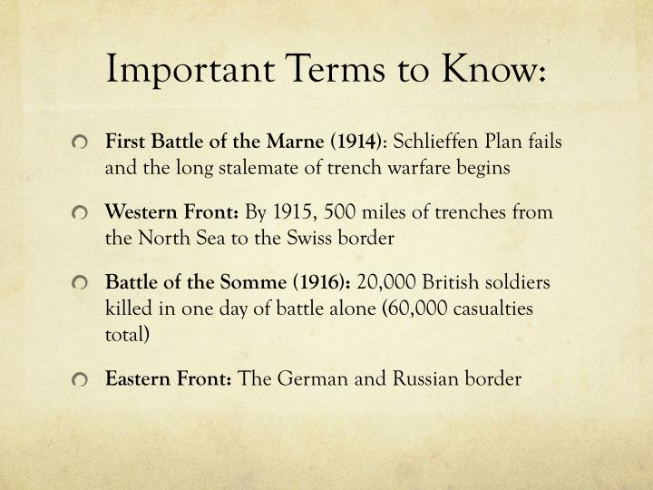 Important Terms to Know: