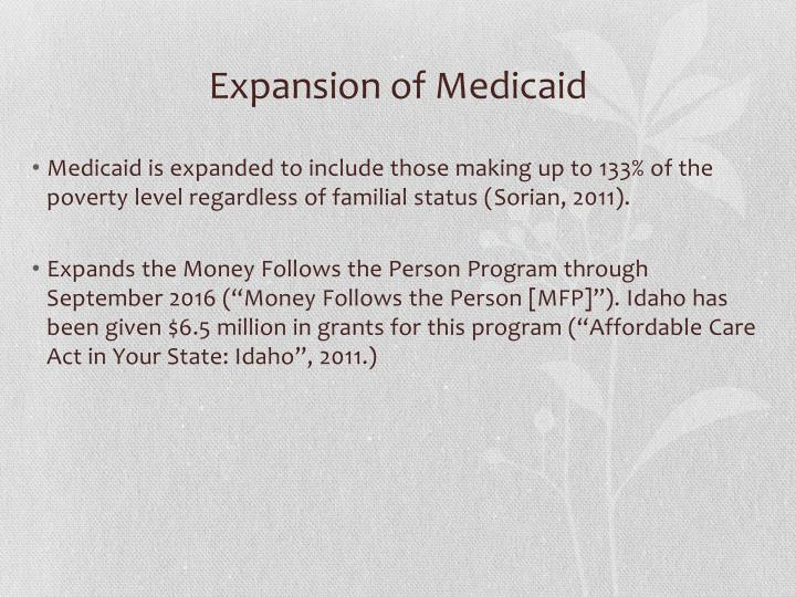 Expansion of Medicaid