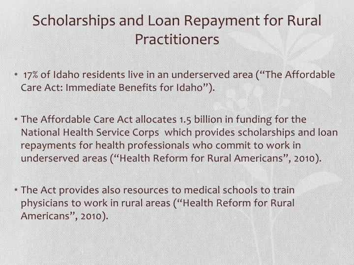 Scholarships and loan repayment for rural practitioners