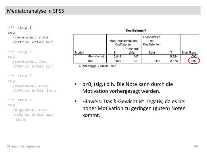 Mediatoranalyse in SPSS