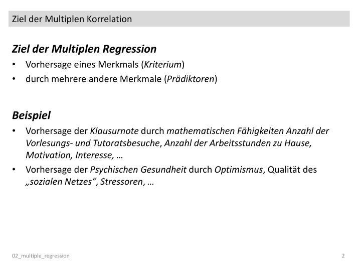 Ziel der Multiplen Korrelation