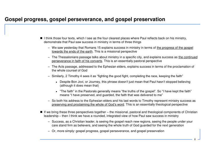 Gospel progress, gospel perseverance, and gospel preservation