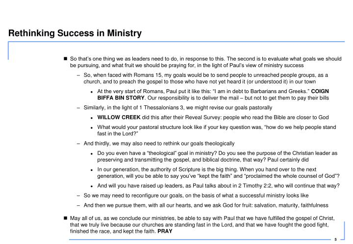 Rethinking Success in Ministry