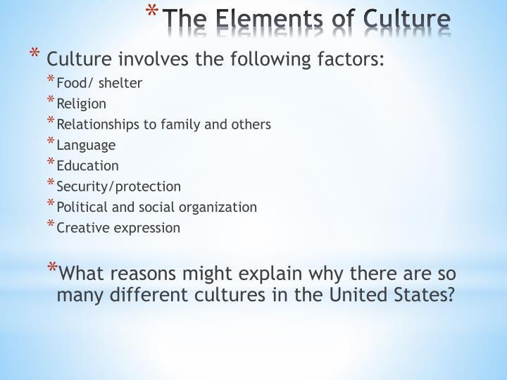 Culture involves the following factors: