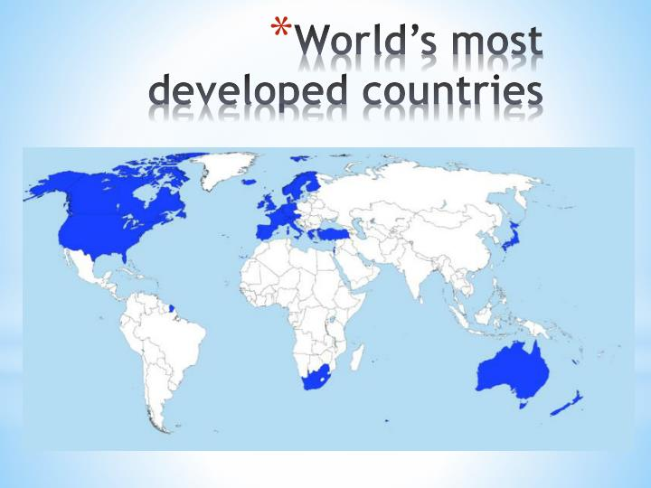 World's most developed countries