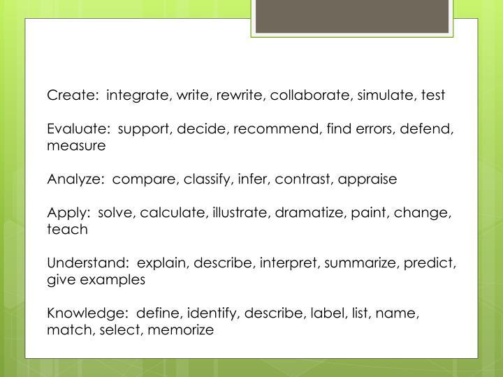 Create:  integrate, write, rewrite, collaborate, simulate, test