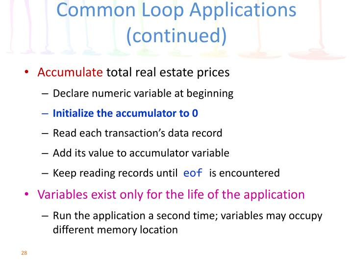 Common Loop Applications (continued)