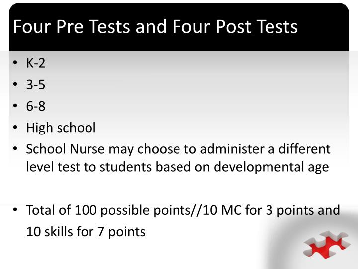 Four pre tests and four post tests