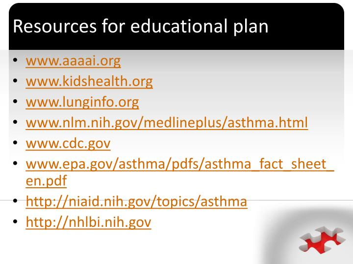 Resources for educational plan