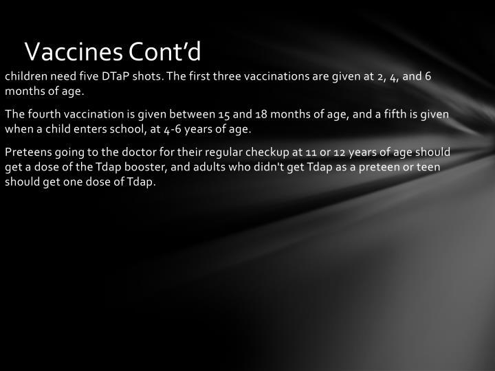 Vaccines Cont'd