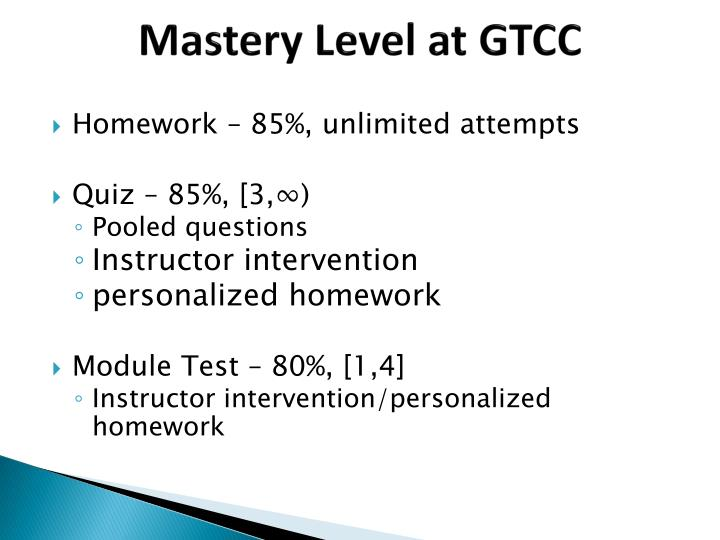 Mastery Level at GTCC