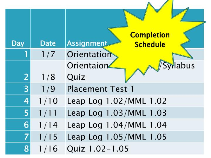 Completion Schedule