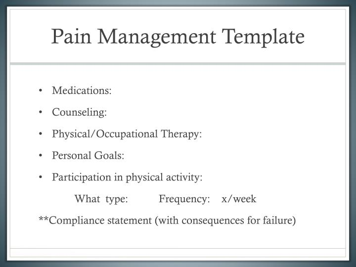 Pain Management Template