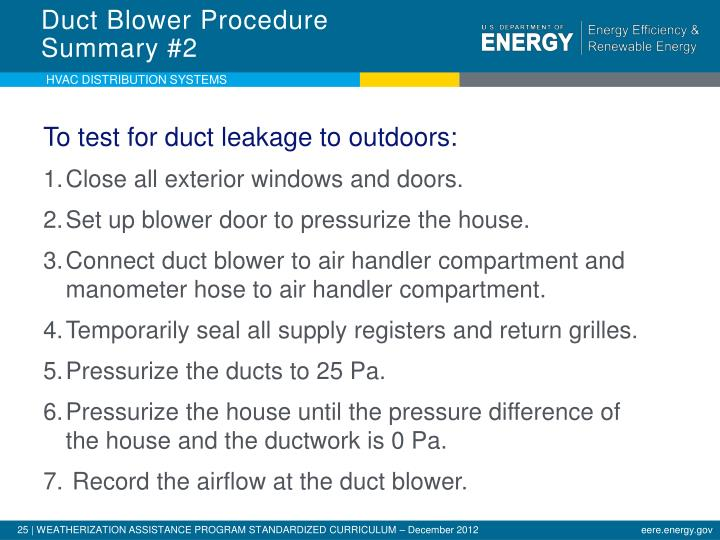 Duct Blower Procedure