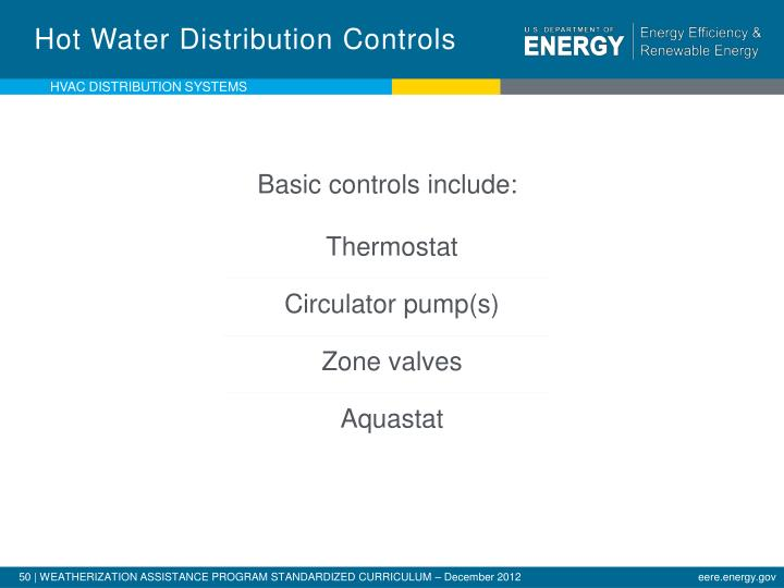 Hot Water Distribution Controls