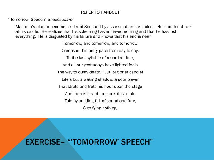 "Exercise– ""'tomorrow' speech"""