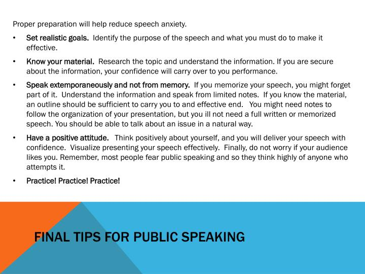 Final tips for public speaking