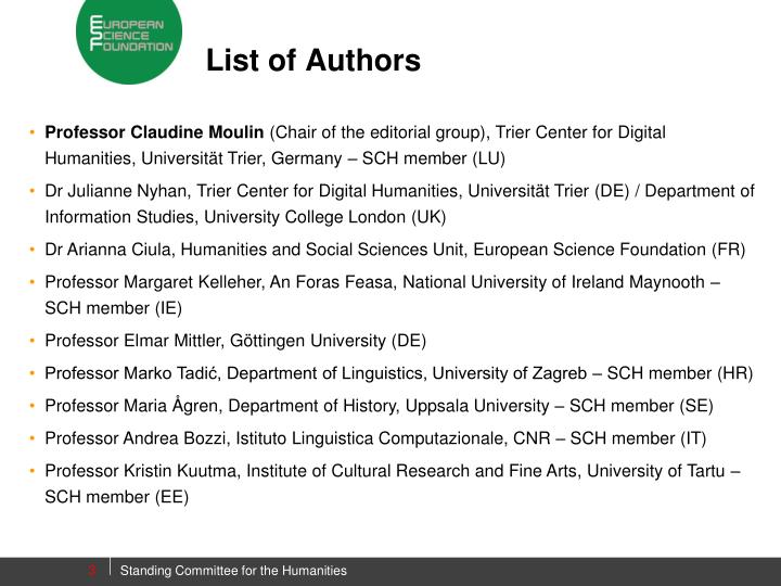 List of authors