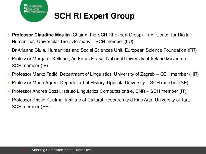 SCH RI Expert Group
