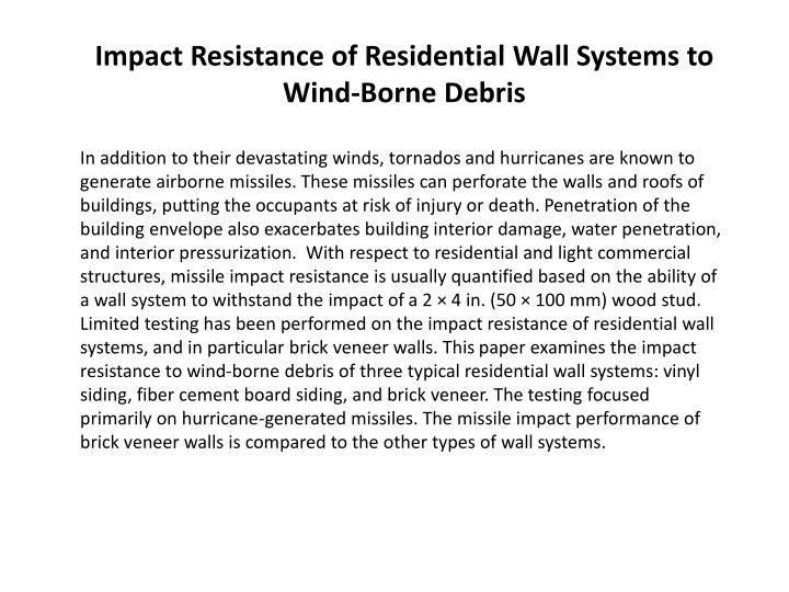 Impact Resistance of Residential Wall Systems
